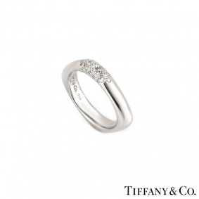 Tiffany & Co. 18k White Gold Pave Set Diamond Ring 0.25ct